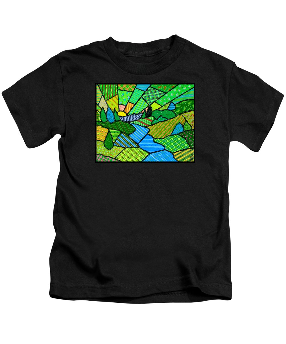Green Kids T-Shirt featuring the painting Green Spring Morning by Jim Harris