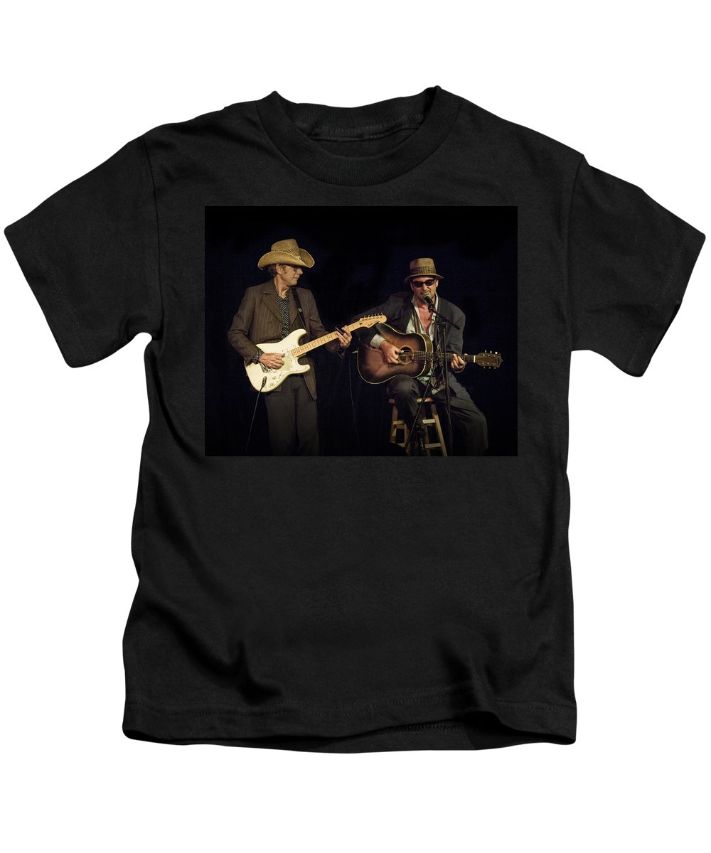 Art; Photography Kids T-Shirt featuring the photograph Greg Brown And Bo Ramsey In Concert by Randall Nyhof