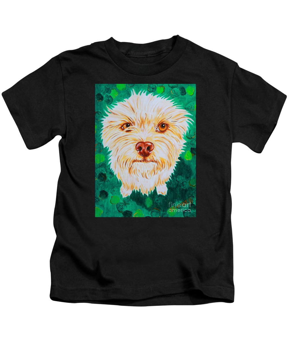 Dog Kids T-Shirt featuring the painting Gremlin by E Cumbess