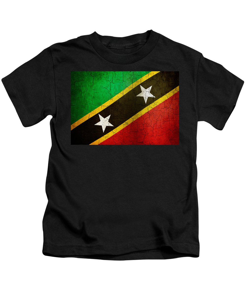 Aged Kids T-Shirt featuring the digital art Grunge Saint Kitts And Nevis Flag by Steve Ball
