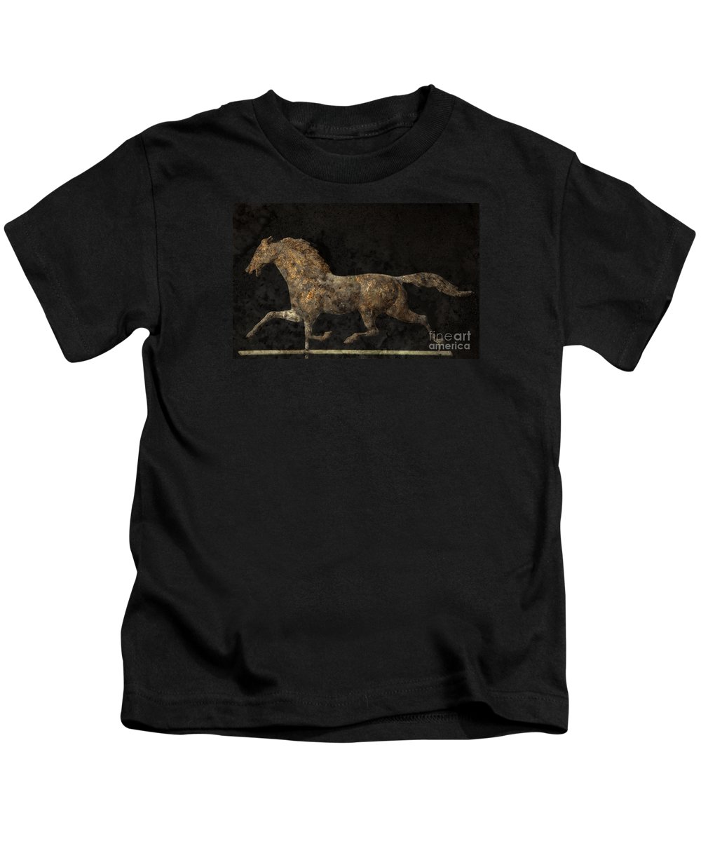 Weathervane Kids T-Shirt featuring the photograph Grungy Antique Weathervane by John Stephens