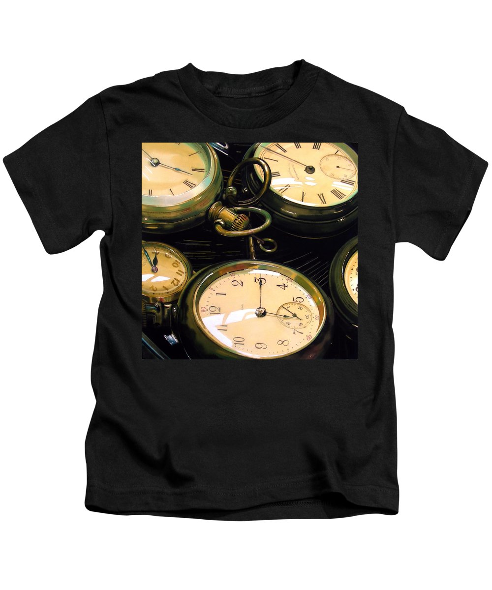 Clocks Kids T-Shirt featuring the painting Guardians Of Time by Denny Bond