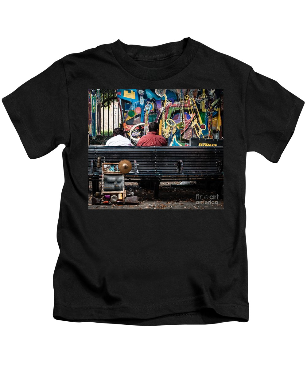 Bench Kids T-Shirt featuring the photograph Guys On A Bench - Jackson Square by Kathleen K Parker