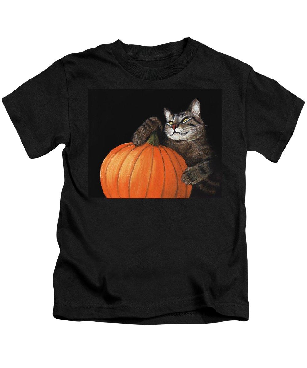 Cat Kids T-Shirt featuring the painting Halloween Cat by Anastasiya Malakhova
