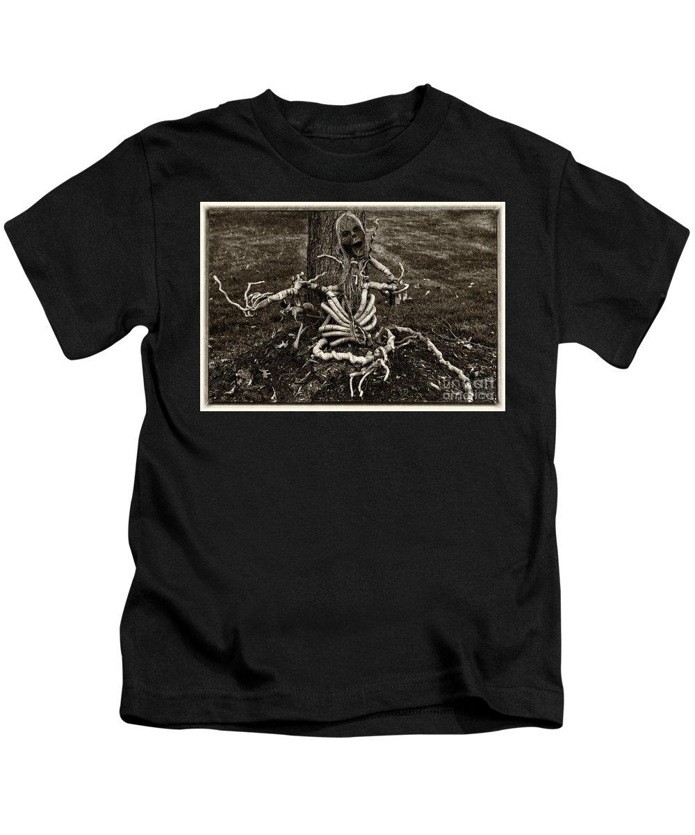 Iris Holzer Richardson Kids T-Shirt featuring the photograph Halloween Green Skeleton Black And White by Iris Richardson