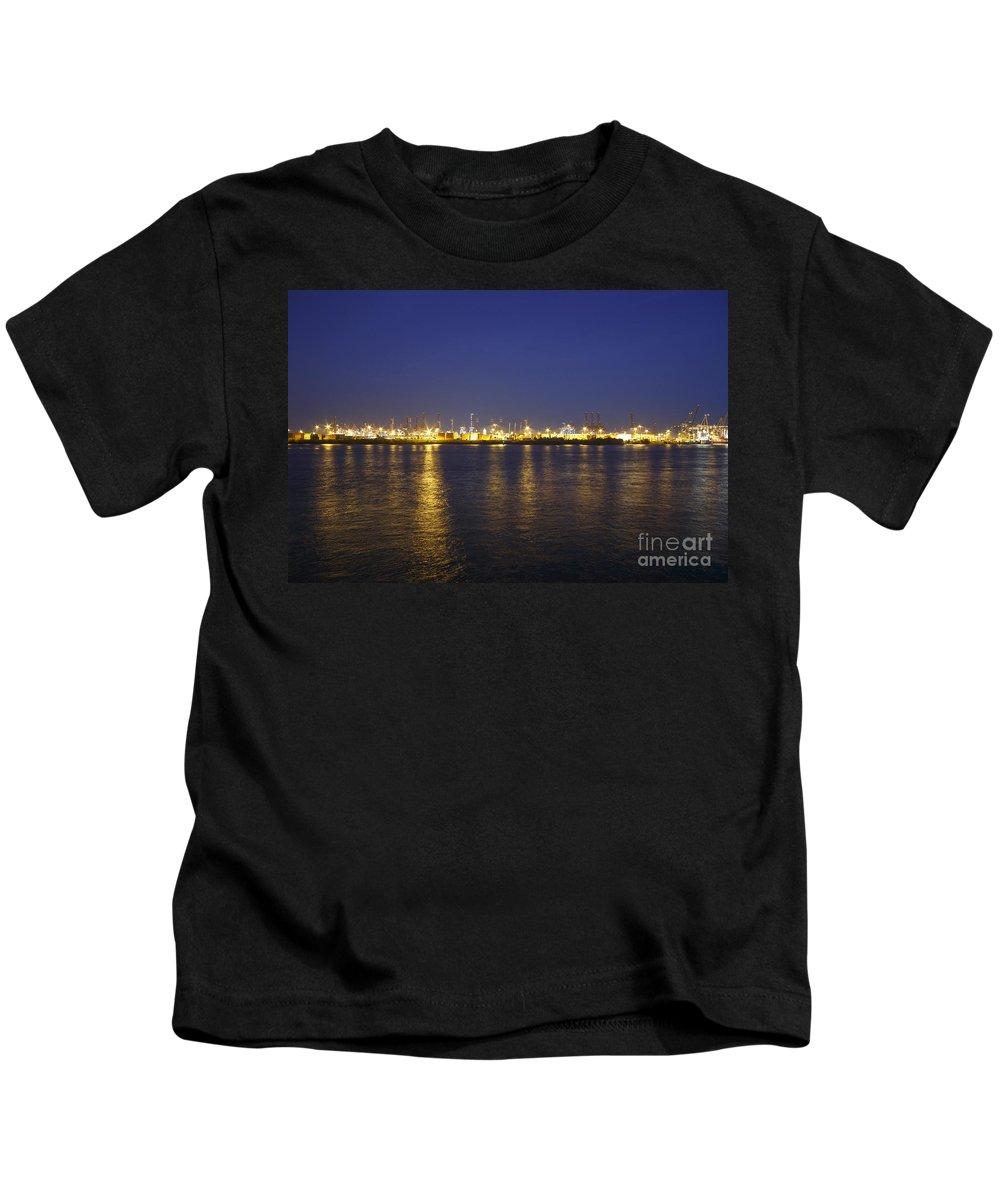 2014 Kids T-Shirt featuring the photograph Hamburg Harbor Skyline by Jannis Werner
