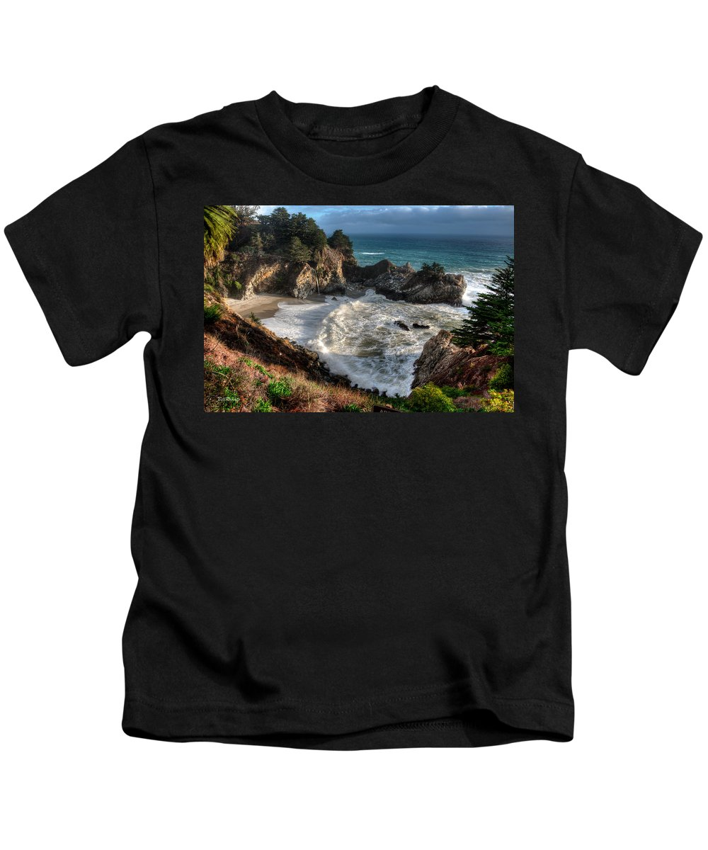 Big Sur Kids T-Shirt featuring the photograph Hanging Waterfall In Big Sur by Bill Roberts