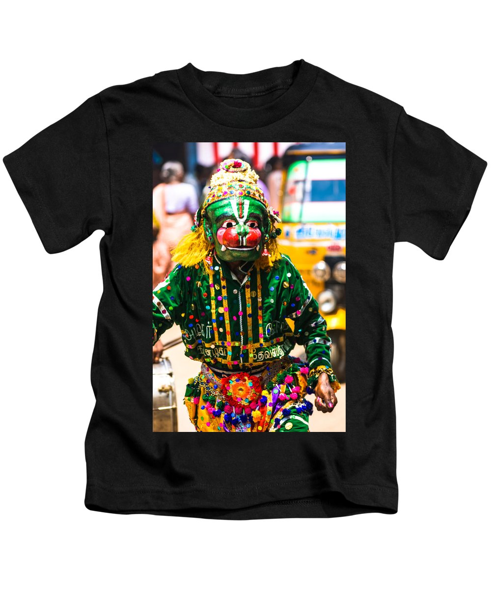 India Kids T-Shirt featuring the photograph Hanuman At Chitirai by Helix Games Photography