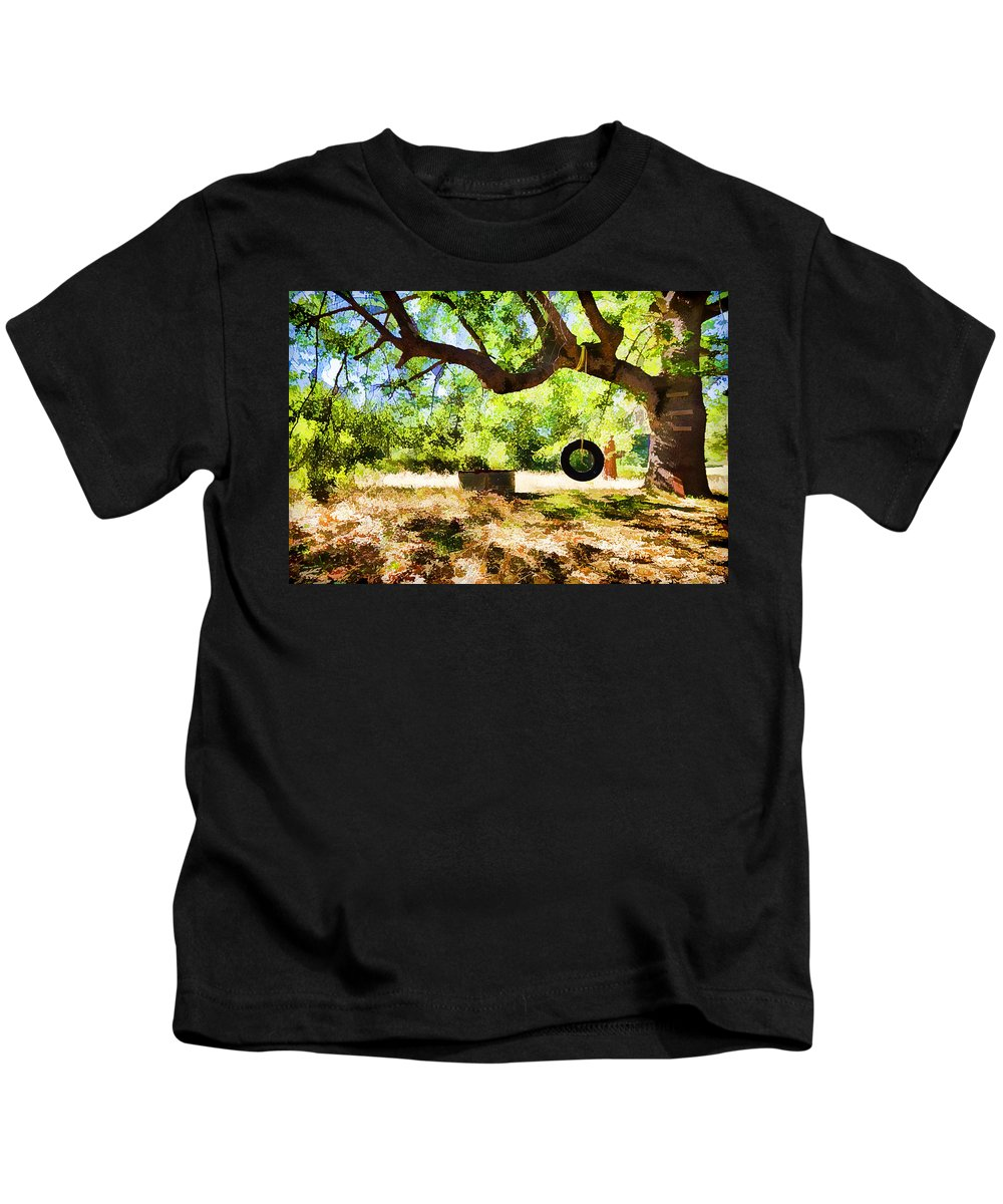 Tire Swing Kids T-Shirt featuring the photograph Happy Childhood Memories by Scott Campbell