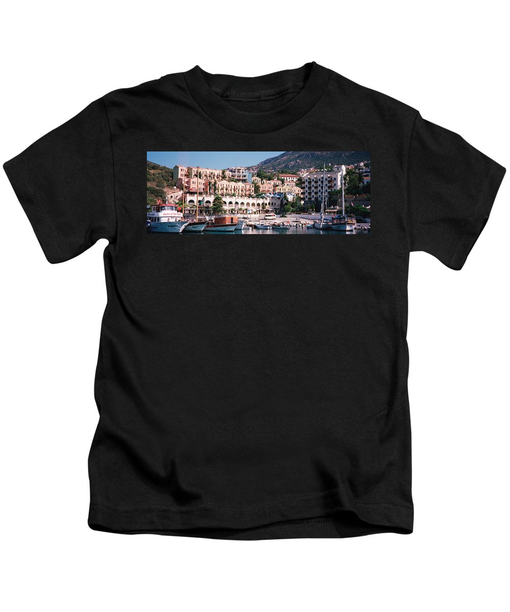 Photography Kids T-Shirt featuring the photograph Harbor, Kalkan, Turkey by Panoramic Images
