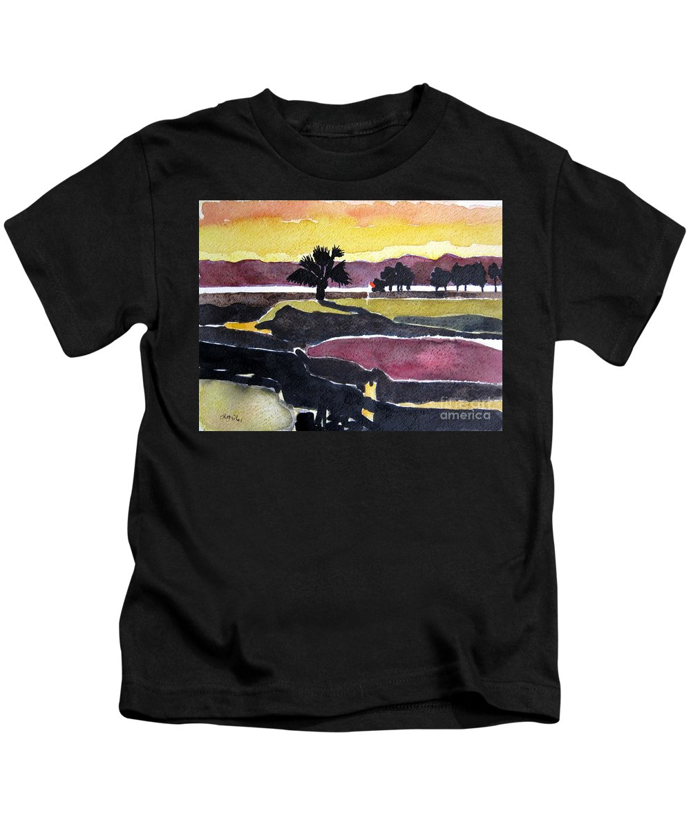 Golf Art Kids T-Shirt featuring the painting Harbour Town Dusk Sc by Lesley Giles