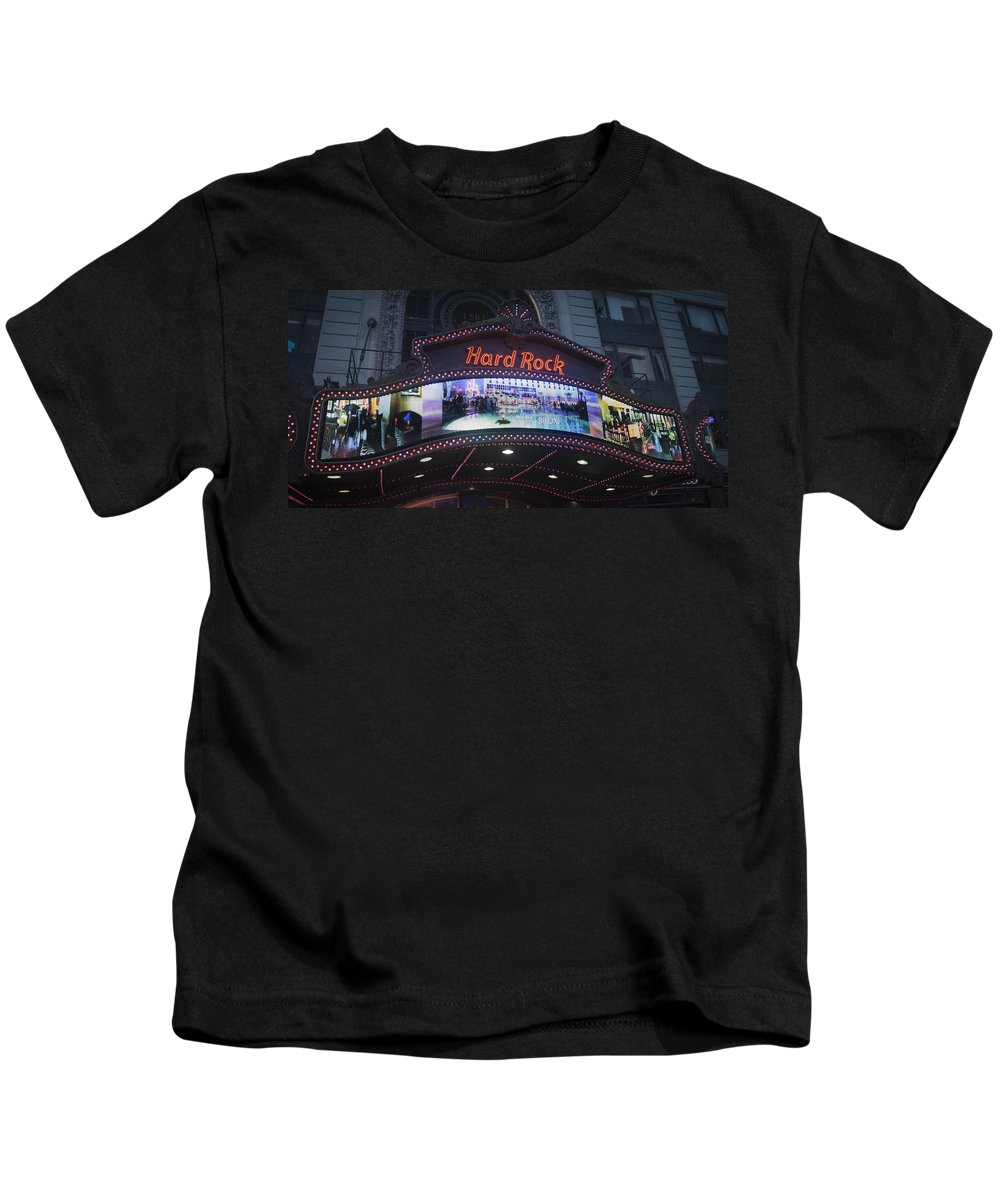 Times Square Kids T-Shirt featuring the photograph Hard Rock Marquee Nyc by Teresa Mucha