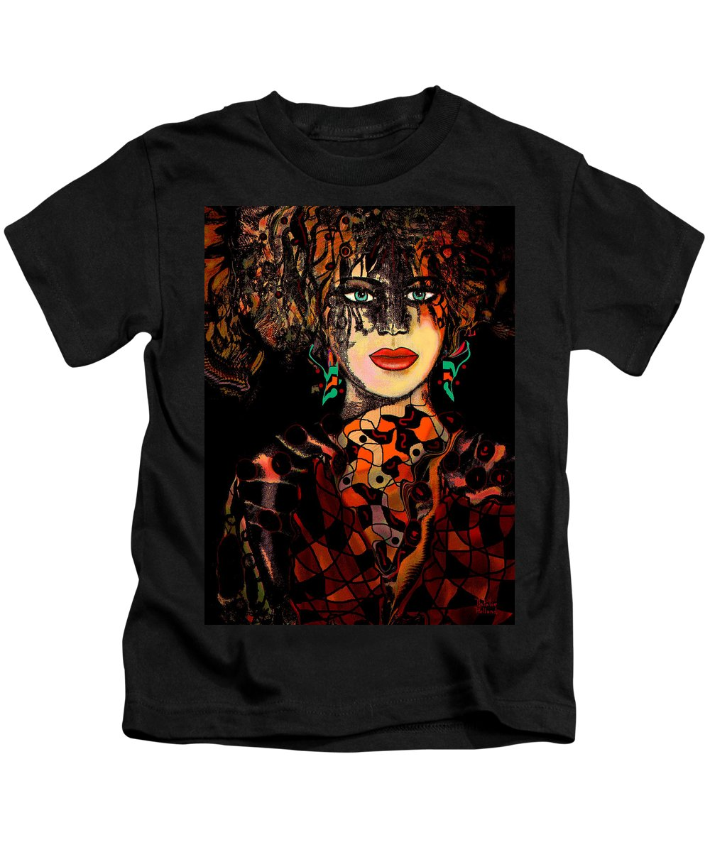 Harlequin Kids T-Shirt featuring the mixed media Harlequin by Natalie Holland