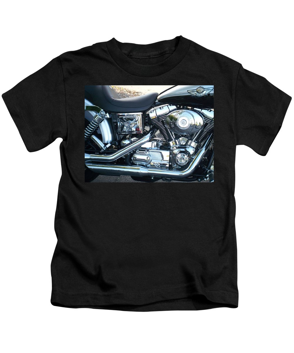 Motorcycles Kids T-Shirt featuring the photograph Harley Black and Silver Sideview by Anita Burgermeister