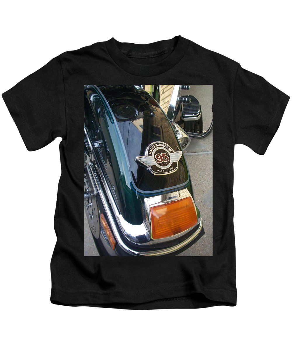 Motorcycles Kids T-Shirt featuring the photograph Harley Close-up Tail Light by Anita Burgermeister