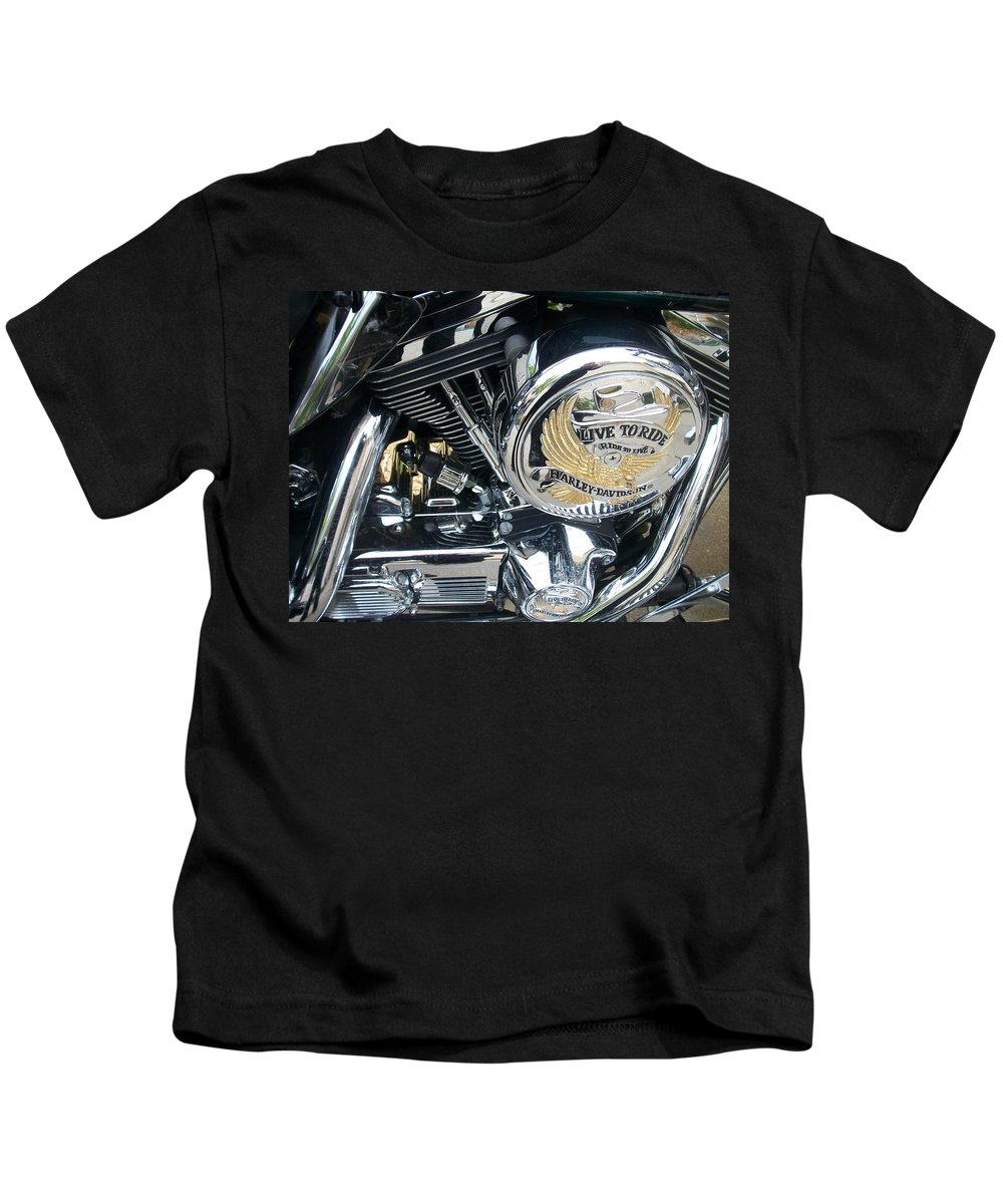 Motorcycles Kids T-Shirt featuring the photograph Harley Live To Ride by Anita Burgermeister