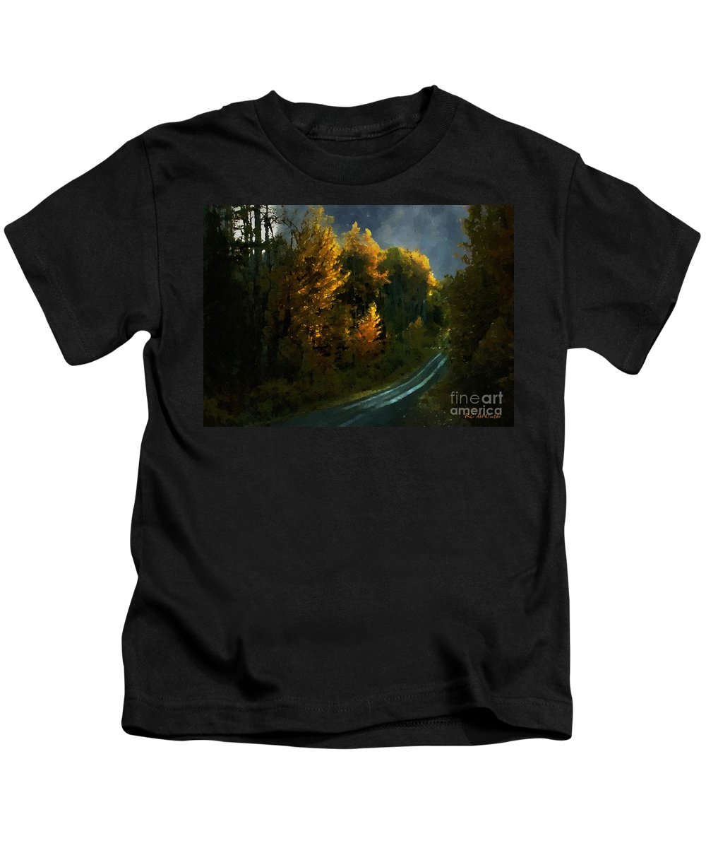 Landscape Kids T-Shirt featuring the painting Harvest Moon Another Starry Night by RC DeWinter