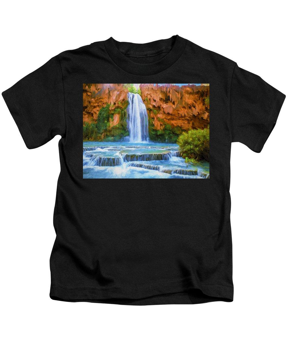 Fine Art Kids T-Shirt featuring the painting Havasu Falls by David Wagner