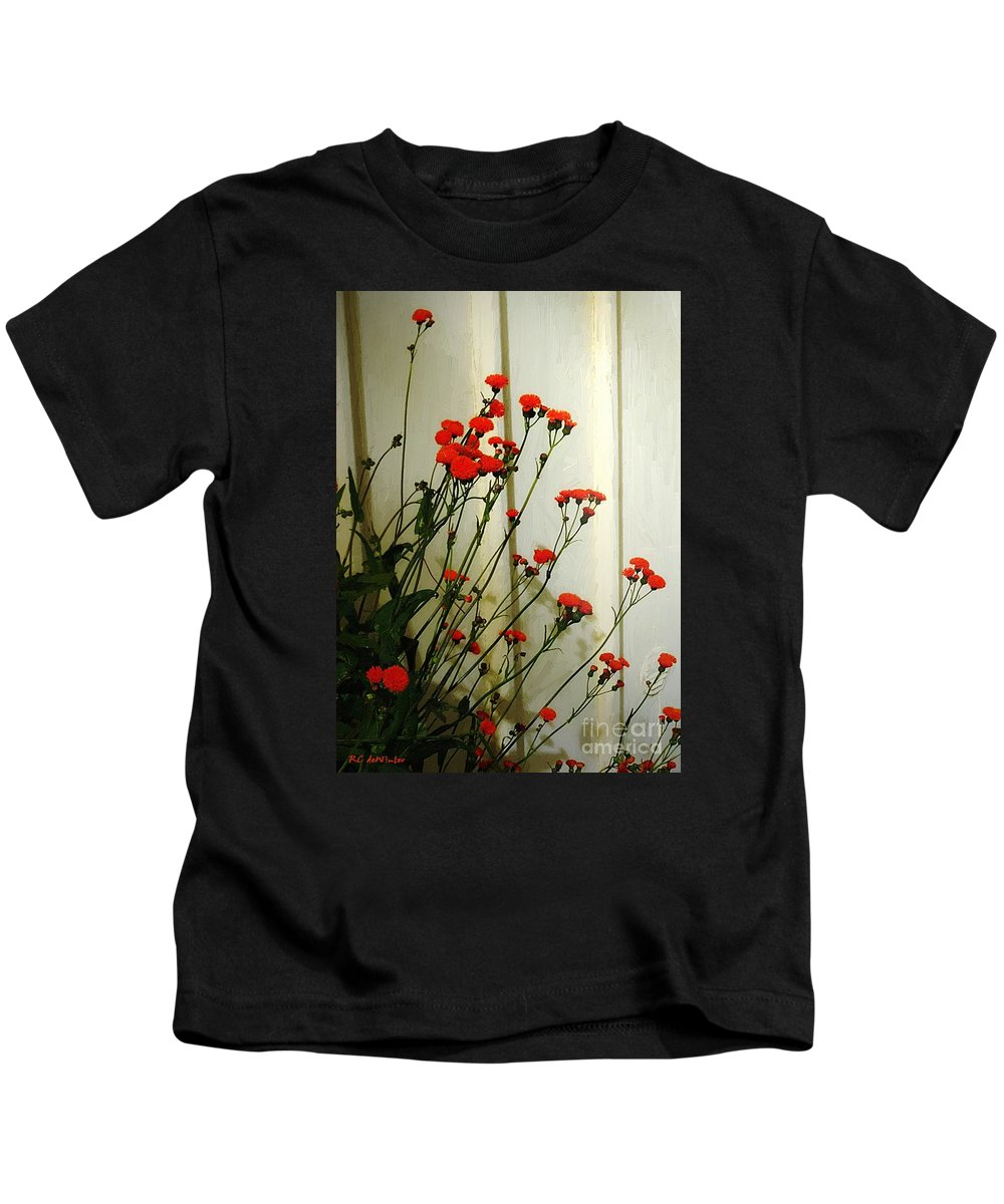 Landscape Kids T-Shirt featuring the painting Hawkweed In Late Autumn Sun by RC DeWinter