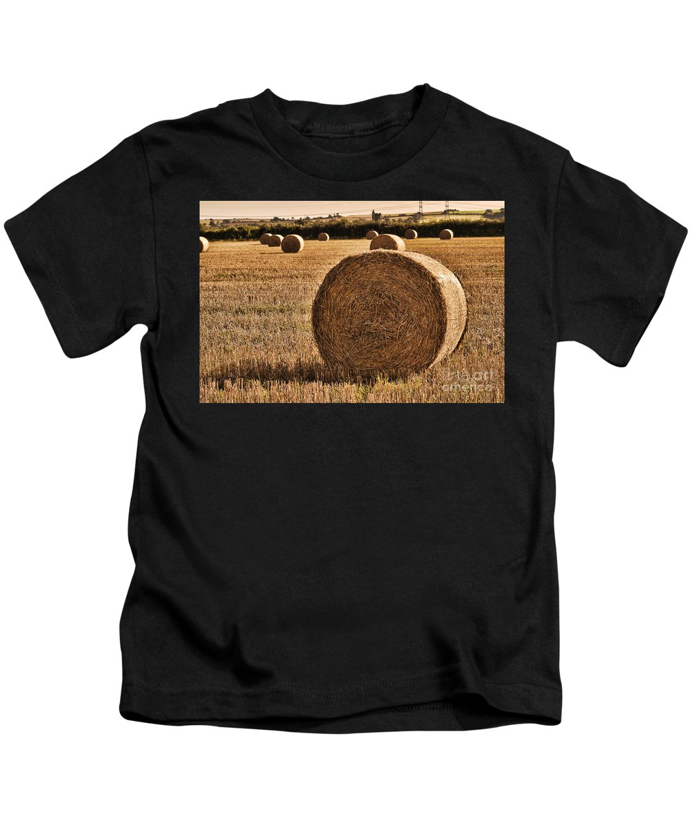 Hay Bales Kids T-Shirt featuring the photograph Hay Bales 2 by Steve Purnell