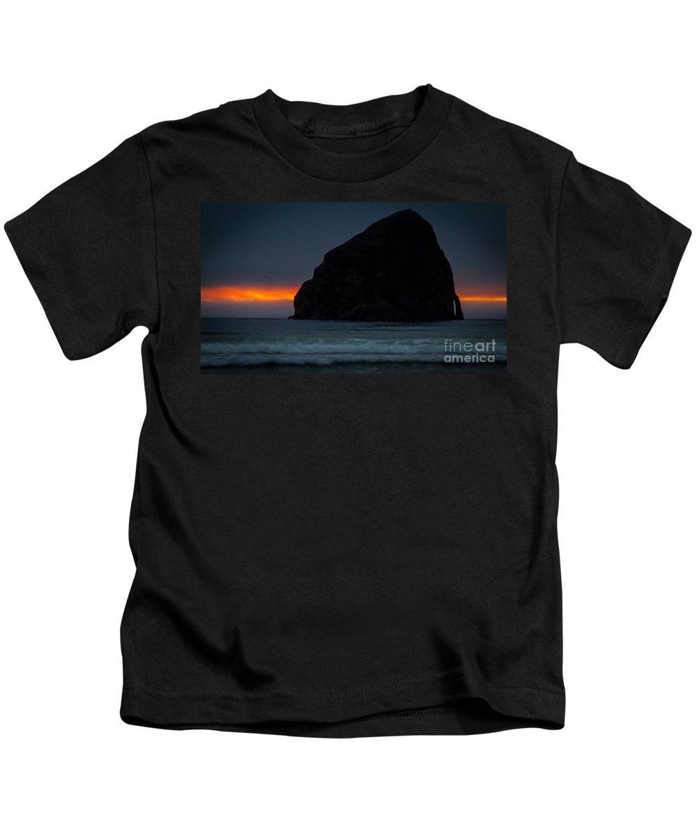 Haystack Rock Kids T-Shirt featuring the photograph Haystack Rock Sunset by Matt Hoffmann
