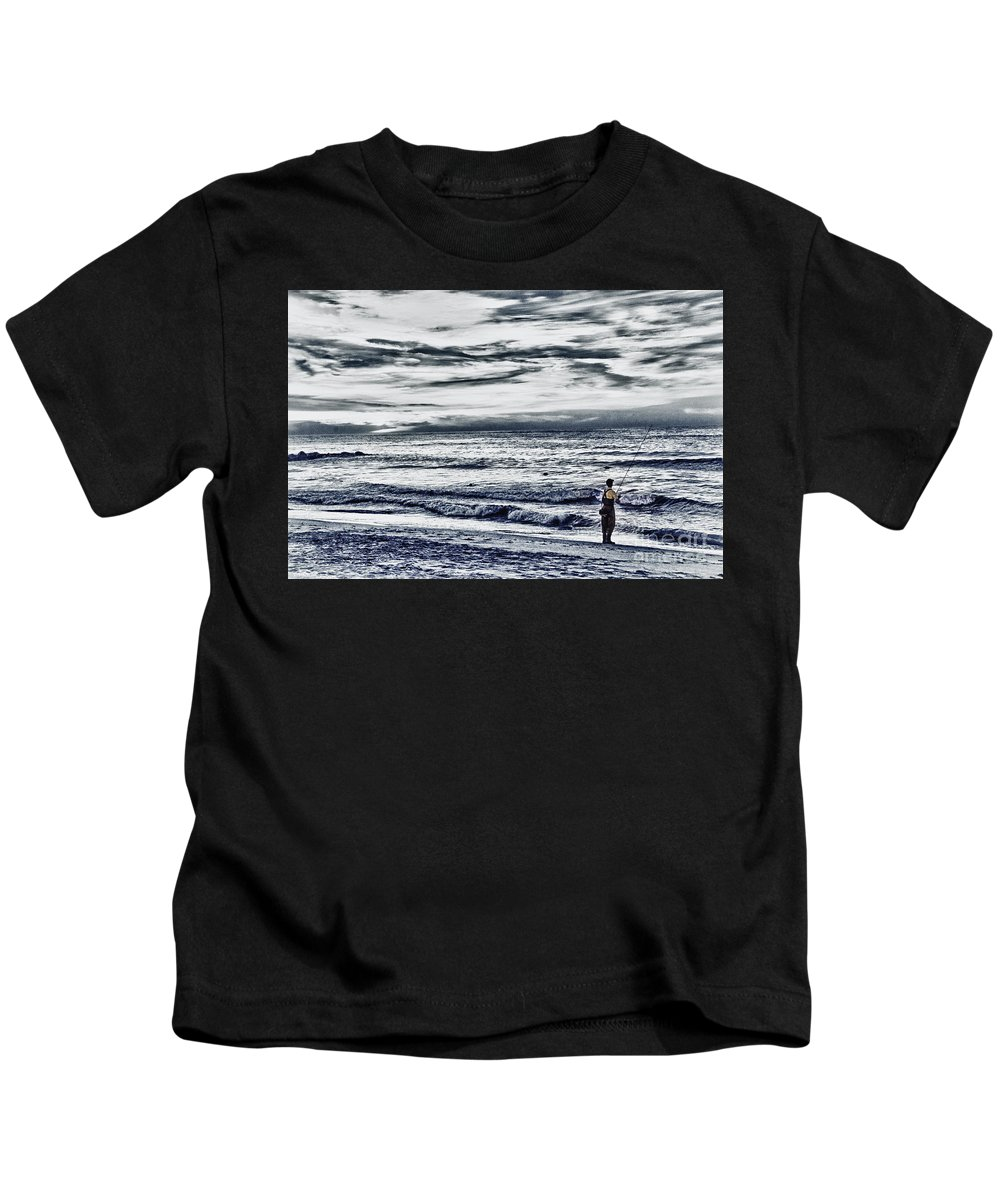 Hdr Kids T-Shirt featuring the photograph Hdr Black White Color Effect Fisherman Beach Ocean Sea Seascape Landscape Photography Image Photo by Pictures HDR