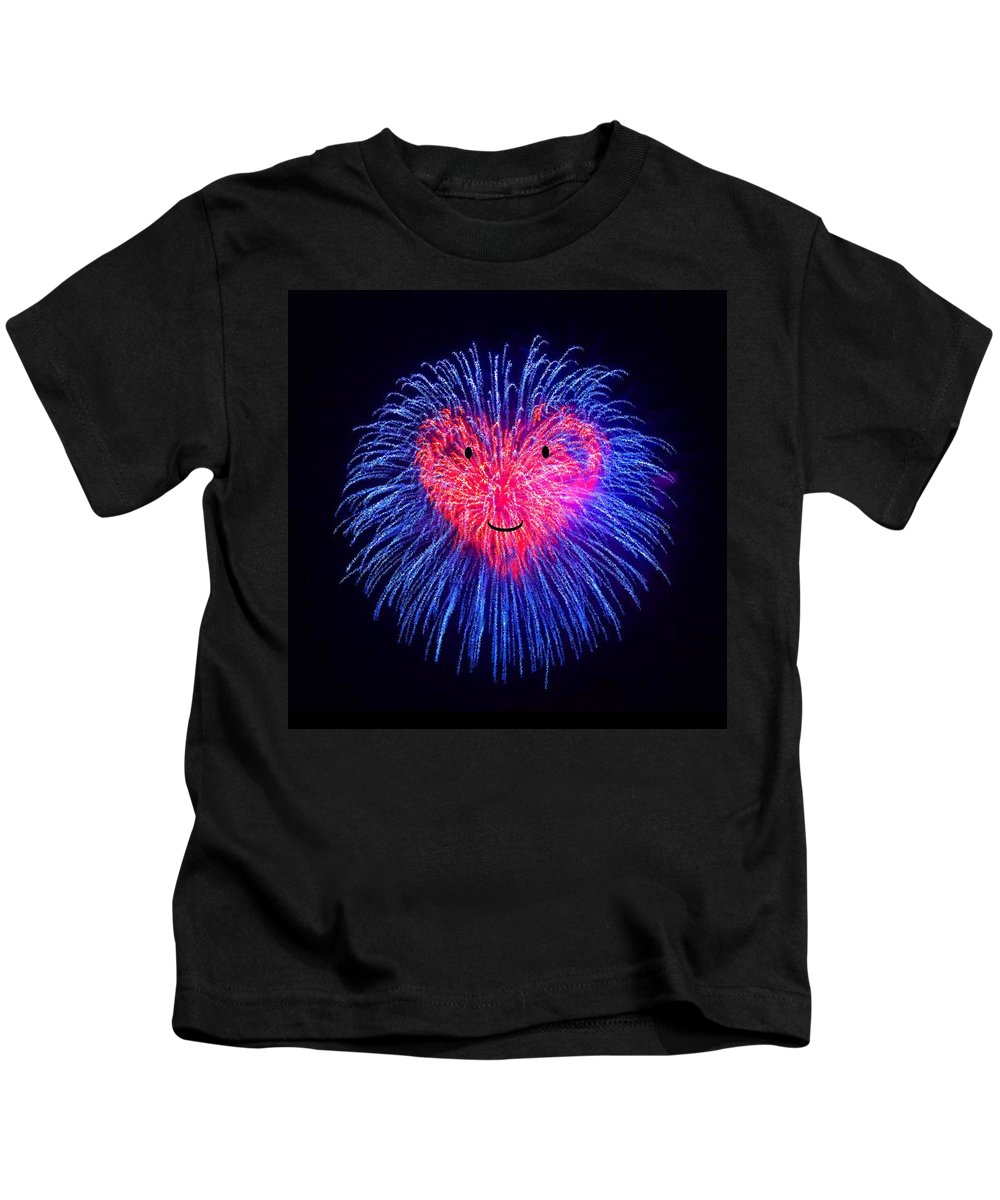 Heart Kids T-Shirt featuring the painting Heart Fireworks Face by Bruce Nutting