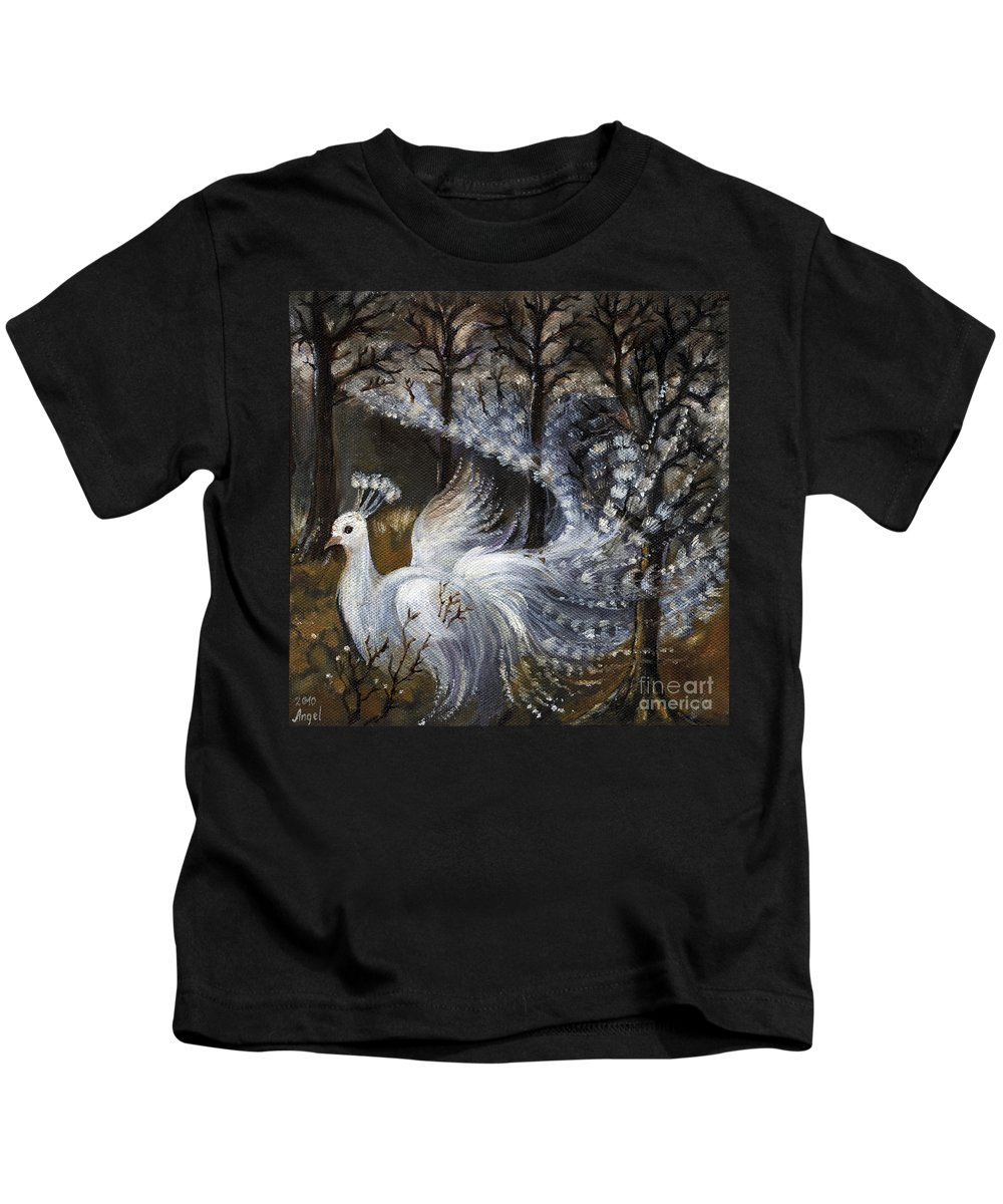 Peacock Kids T-Shirt featuring the painting Here Comes The Mist by Angel Ciesniarska
