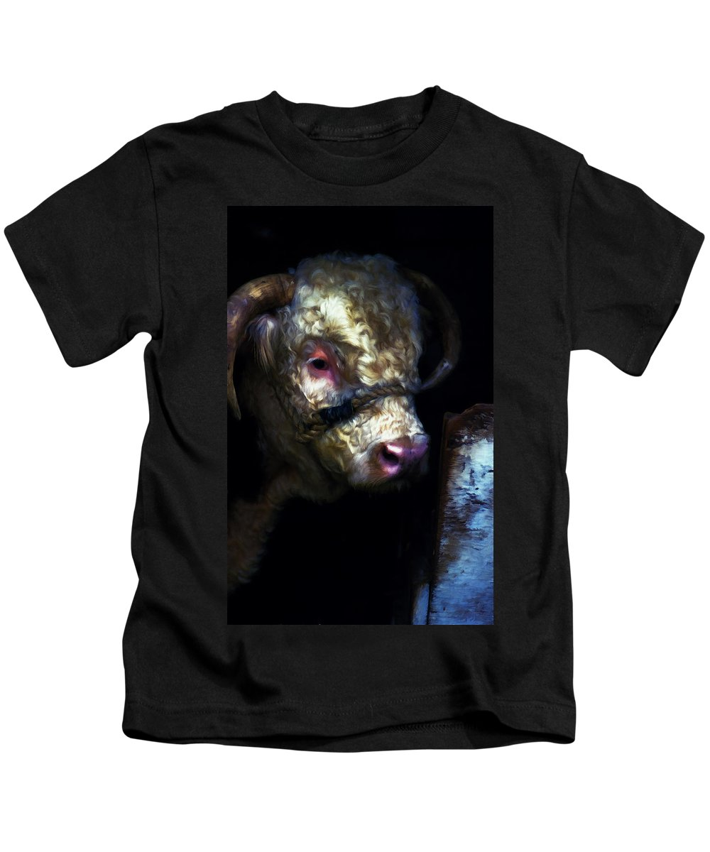 Bull Kids T-Shirt featuring the digital art Hereford Bull 2 by Cathy Anderson