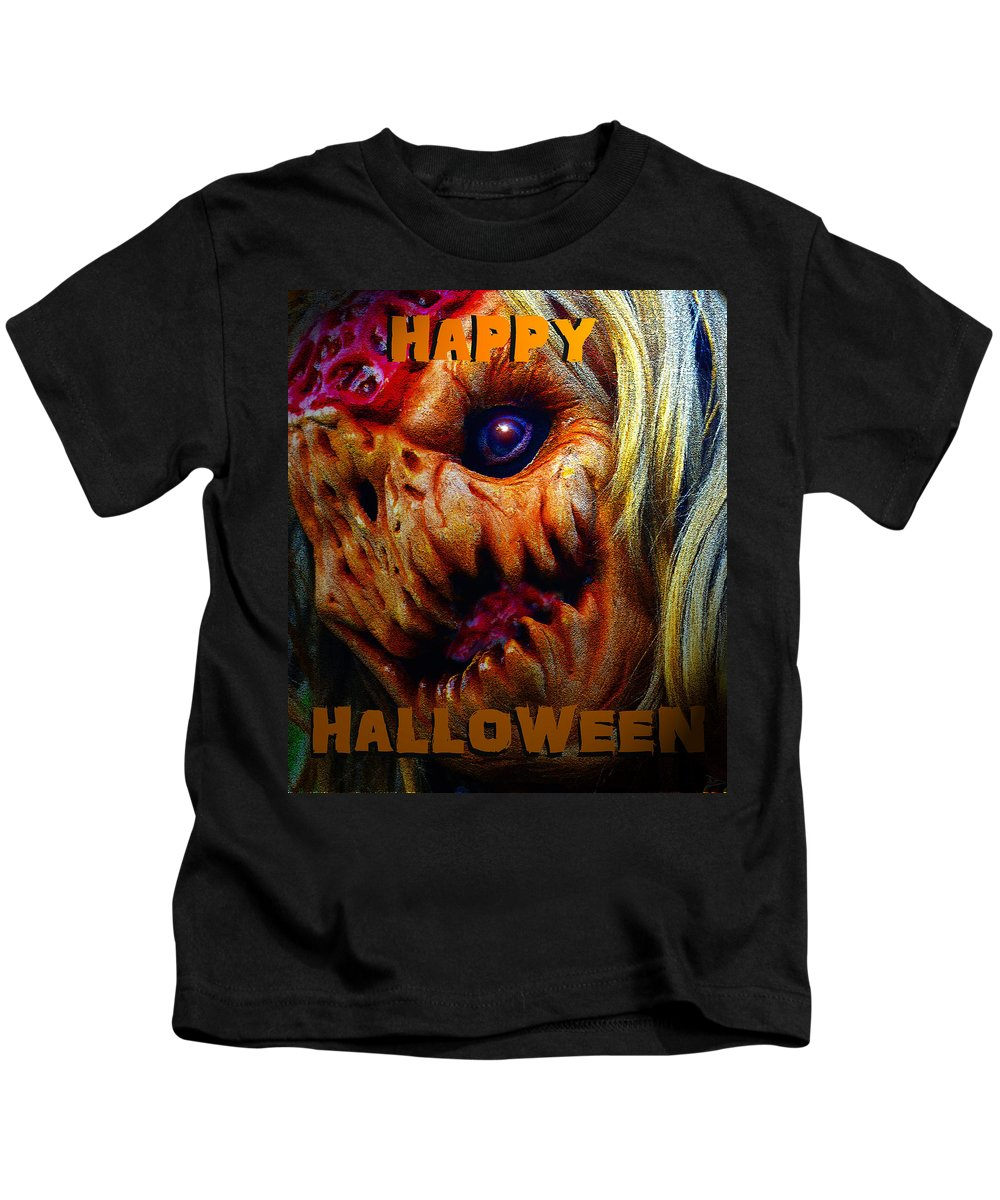 Happy Halloween Kids T-Shirt featuring the painting Hh Face Work A by David Lee Thompson