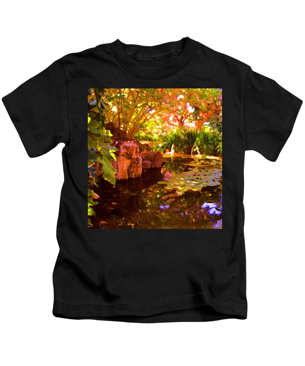 Water Landscape Kids T-Shirt featuring the painting Hidden Pond by Amy Vangsgard