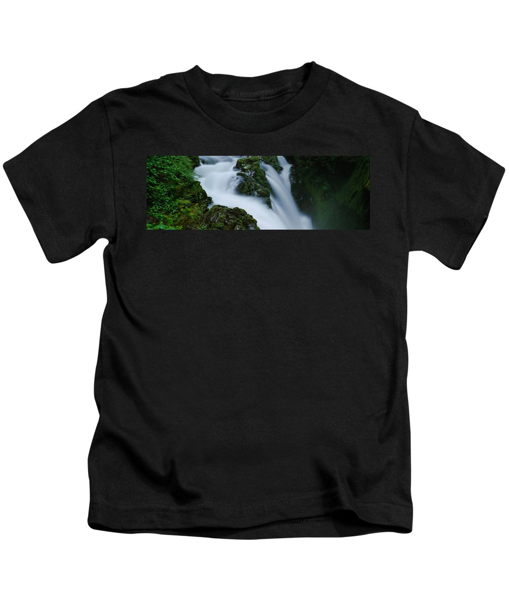 Photography Kids T-Shirt featuring the photograph High Angle View Of A Waterfall, Sol Duc by Panoramic Images