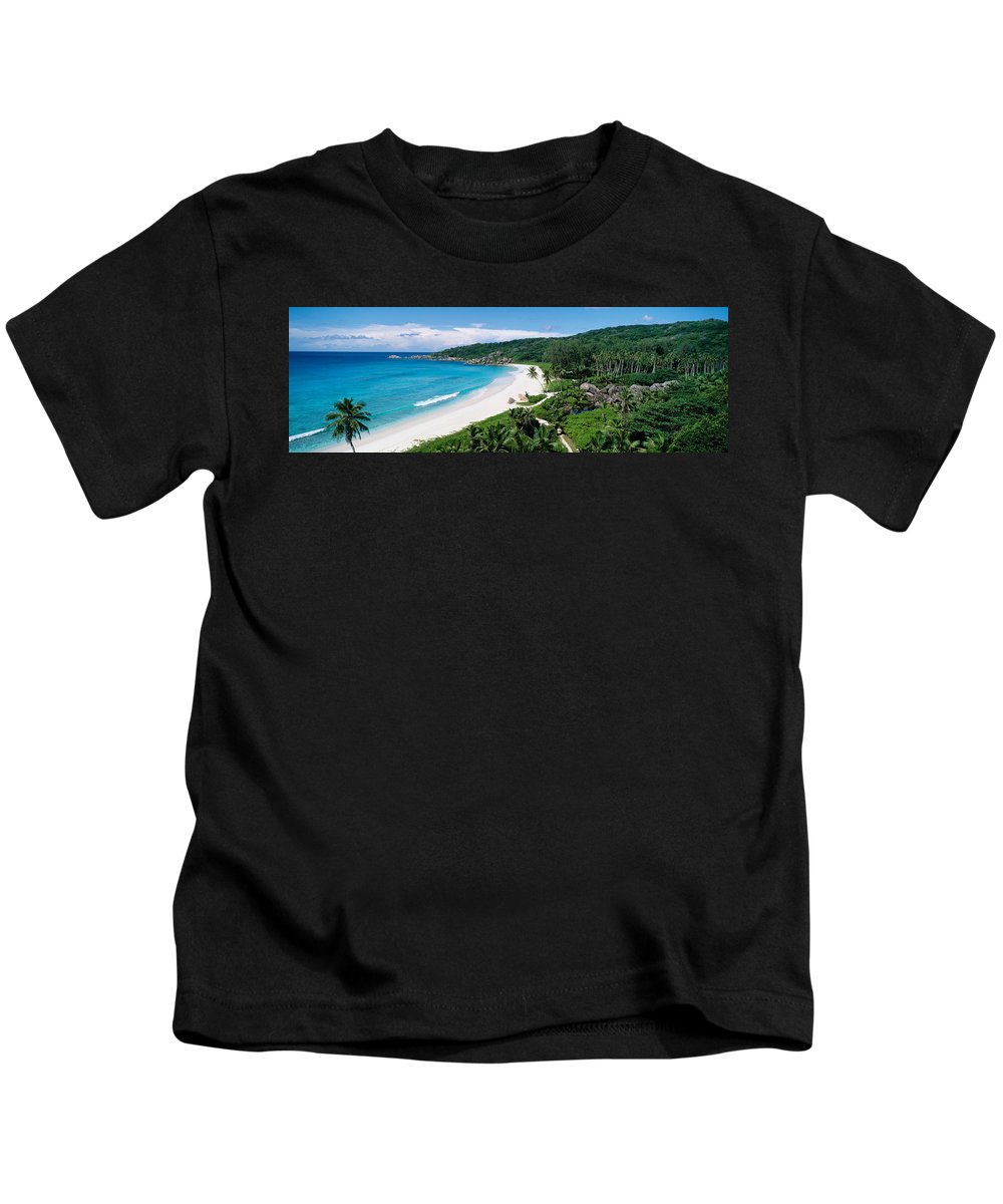 Photography Kids T-Shirt featuring the photograph High Angle View Of The Beach, Grand by Panoramic Images
