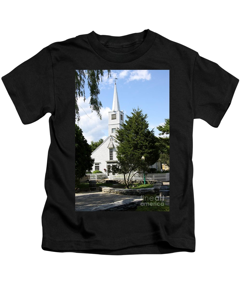 Historic Mystic Kids T-Shirt featuring the photograph Historic Mystic Church - Connecticut by Christiane Schulze Art And Photography