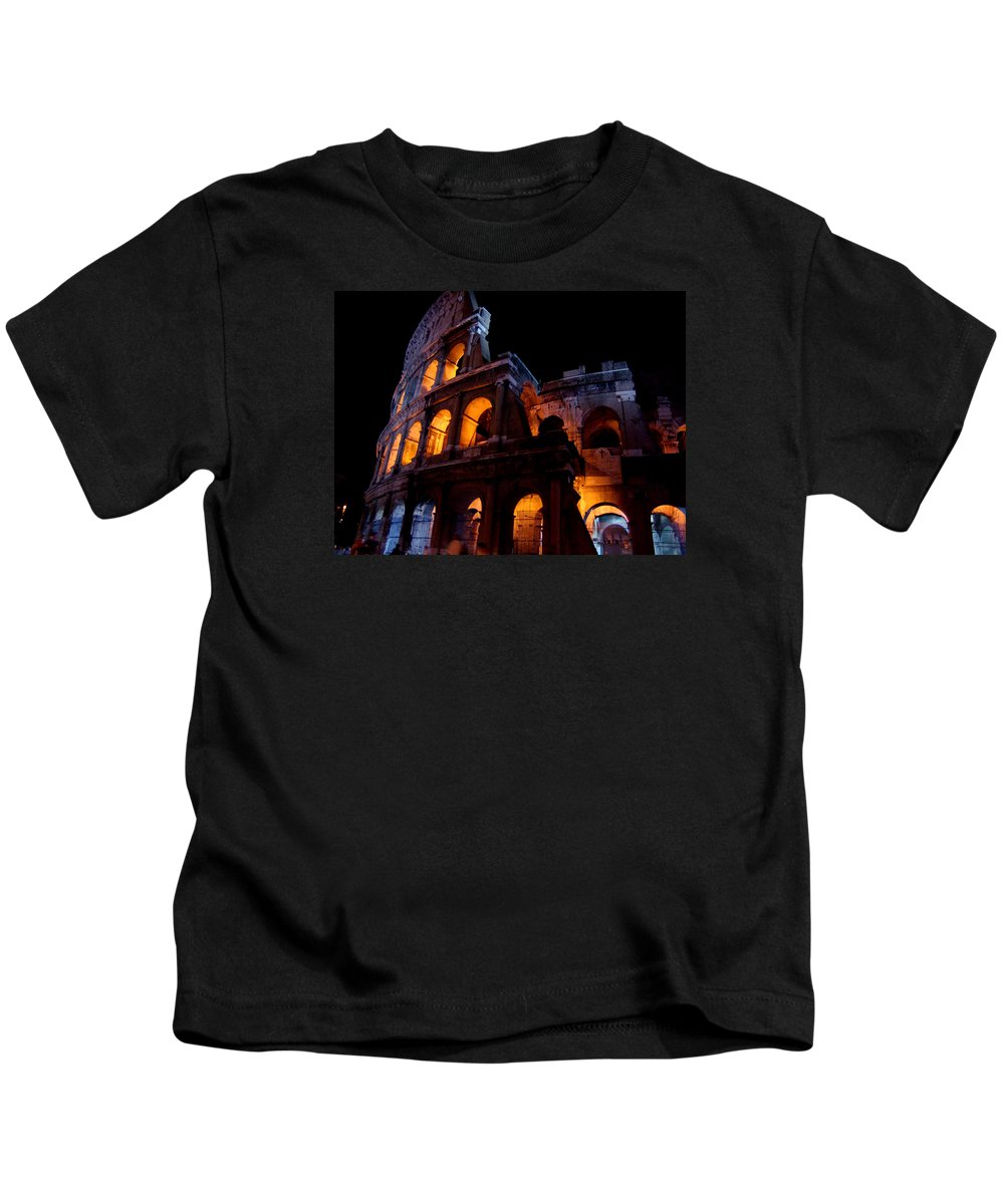 Colosseum Kids T-Shirt featuring the photograph Historical Shapes In The Night by Alessandro Della Pietra