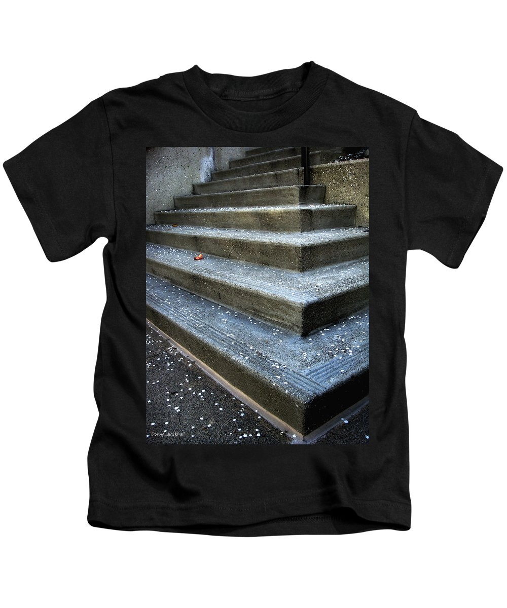 Stairs Kids T-Shirt featuring the photograph Hitting Bottom by Donna Blackhall