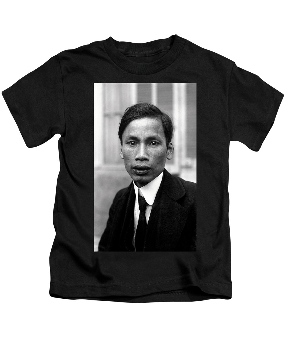 Portait Kids T-Shirt featuring the photograph Ho Chi Minh In 1921 by Mountain Dreams