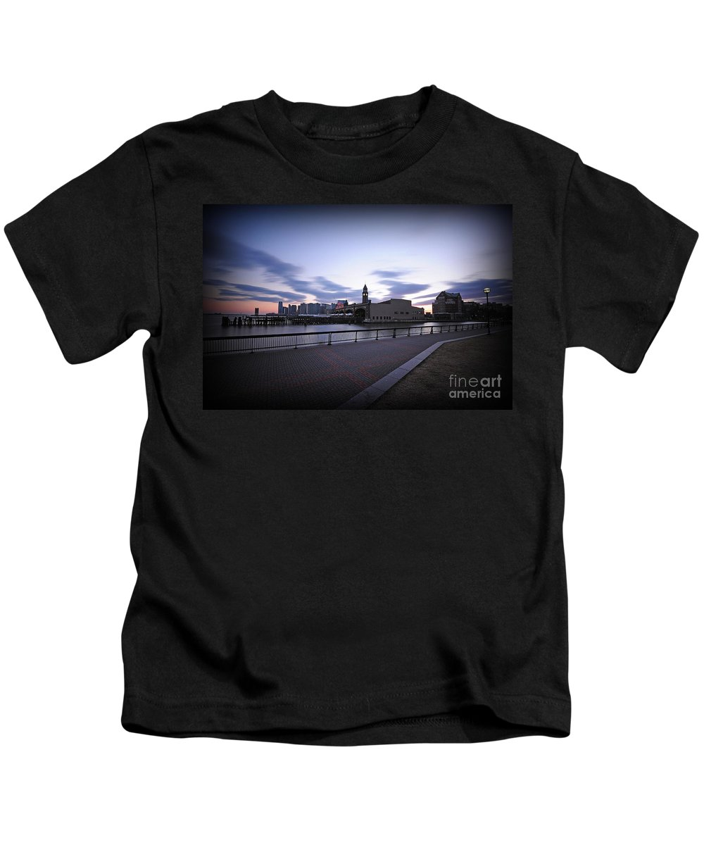 Paul Ward Kids T-Shirt featuring the photograph Hoboken Overlooking The Ferry by Paul Ward