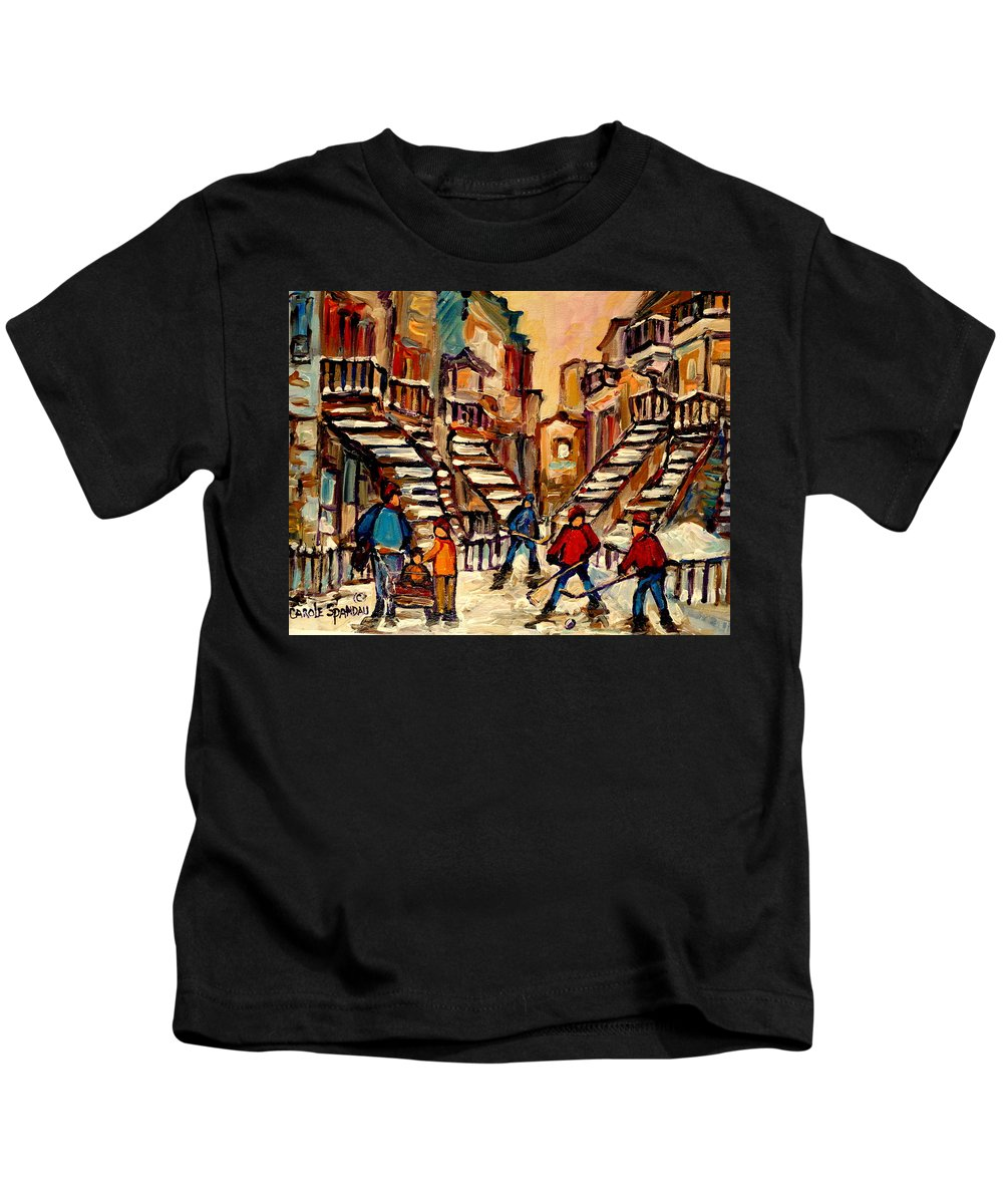 Montreal Kids T-Shirt featuring the painting Hockey Game Near Winding Staircases Montreal Streetscene by Carole Spandau