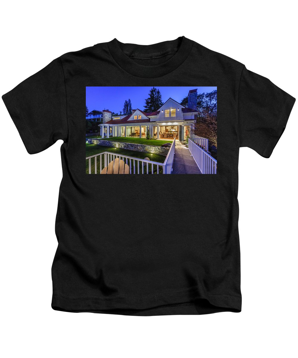 New Home Kids T-Shirt featuring the photograph Home At Night 1 by Mike Penney
