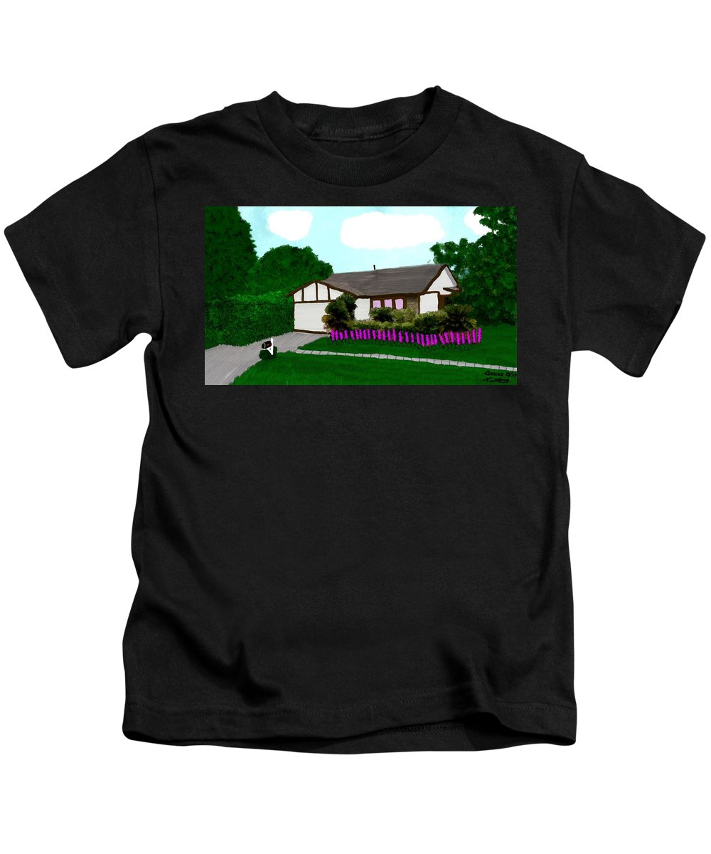House Kids T-Shirt featuring the painting Home Of A Dear Friend by Bruce Nutting