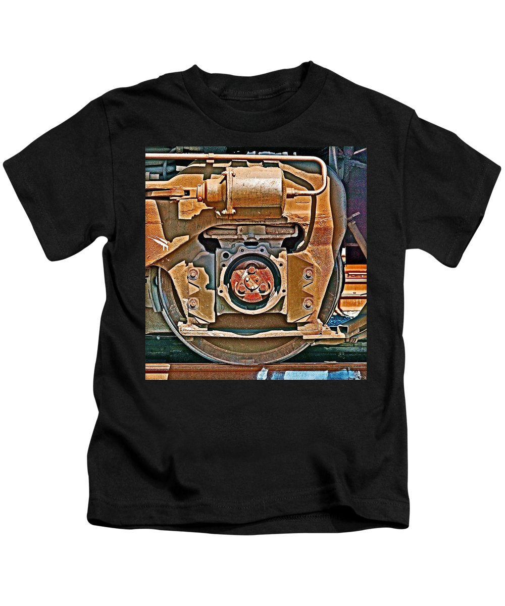Trains Kids T-Shirt featuring the photograph Hommage To Charles Scheeler by Ira Shander
