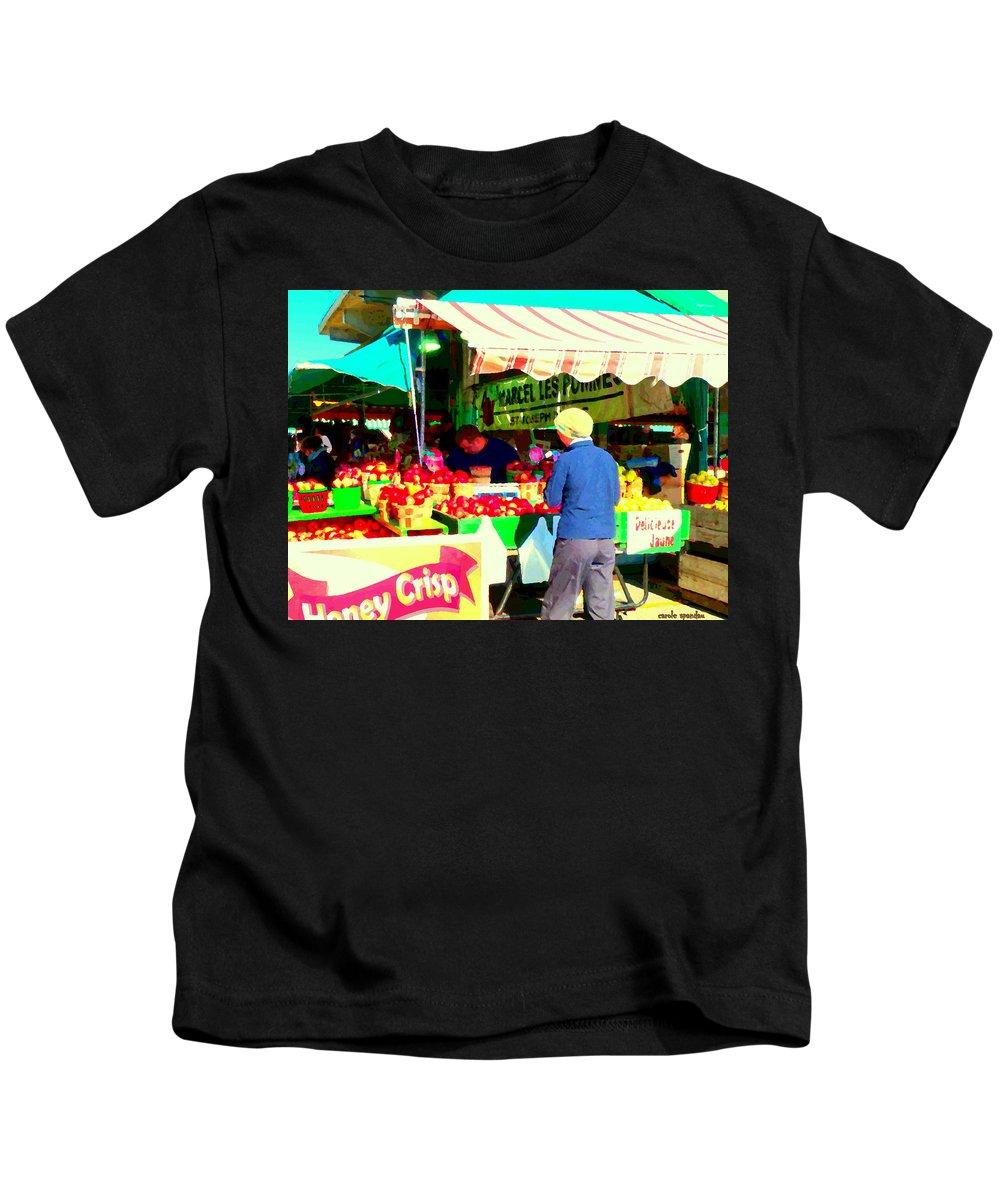 Markets Kids T-Shirt featuring the painting Honeycrisp Apples Fruit Stand Marcel Les Pommes St Joseph Du Lac Food Art Scenes Carole Spandau by Carole Spandau