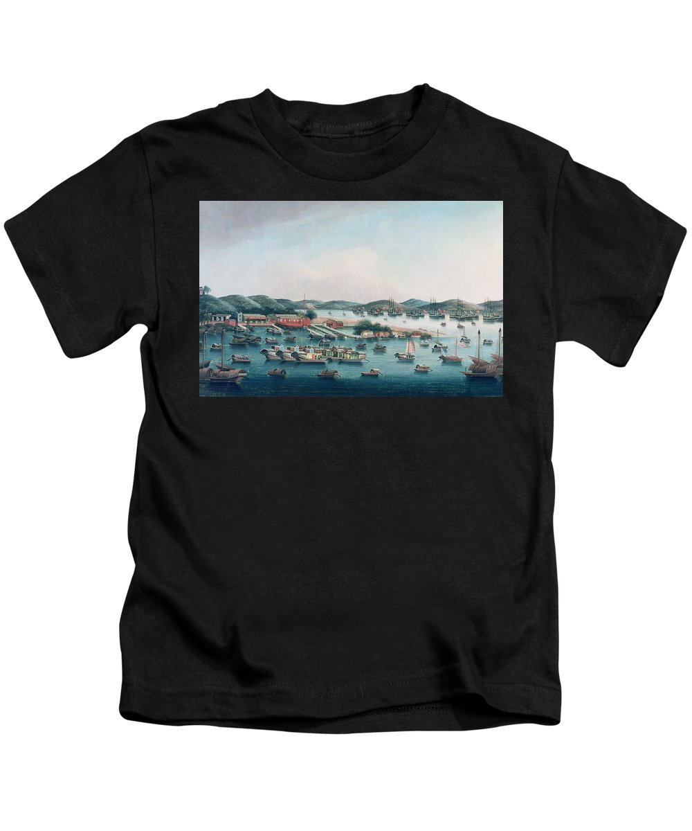 Coast Kids T-Shirt featuring the painting Hong Kong Harbor by Cantonese School