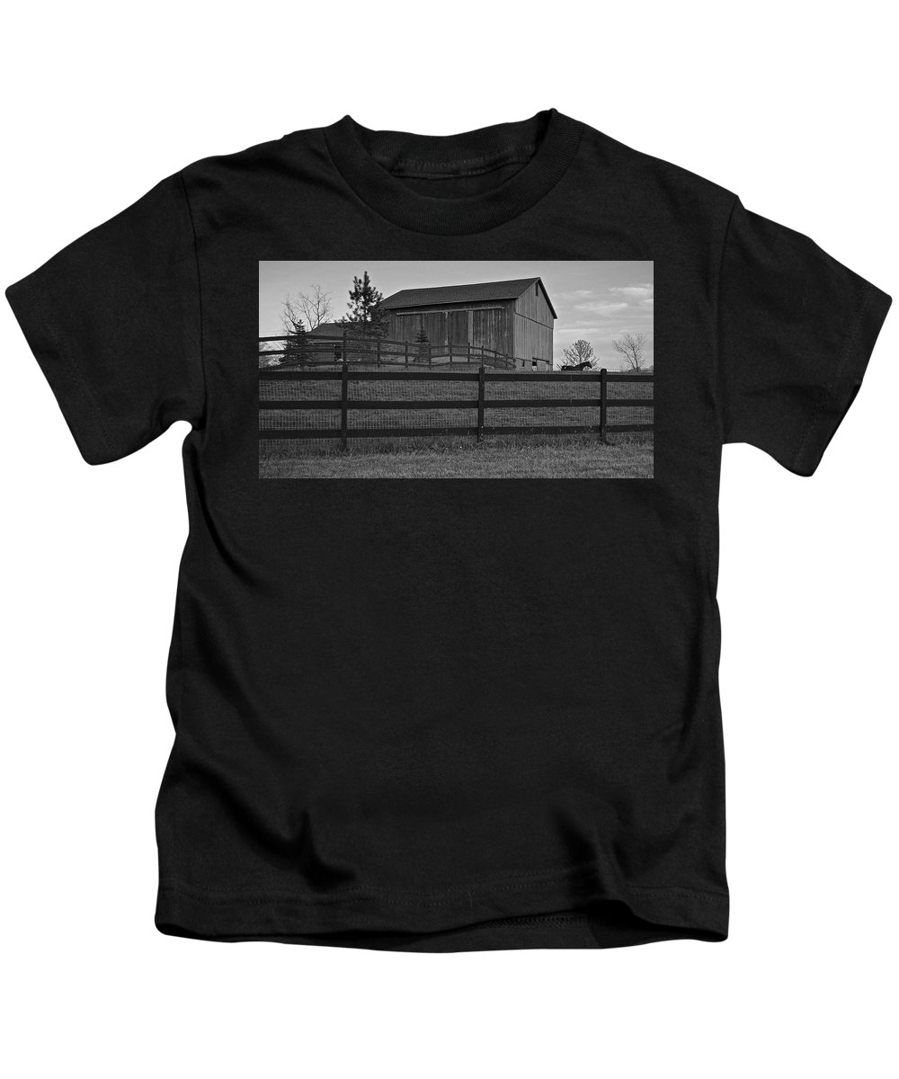 Horse Kids T-Shirt featuring the photograph Horse And Barn by Frozen in Time Fine Art Photography