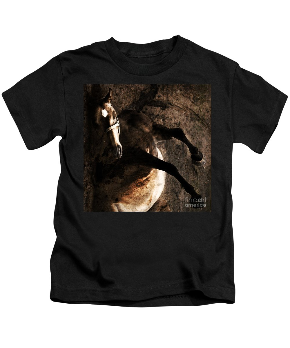 Horse Kids T-Shirt featuring the photograph Horse Art by Angel Tarantella