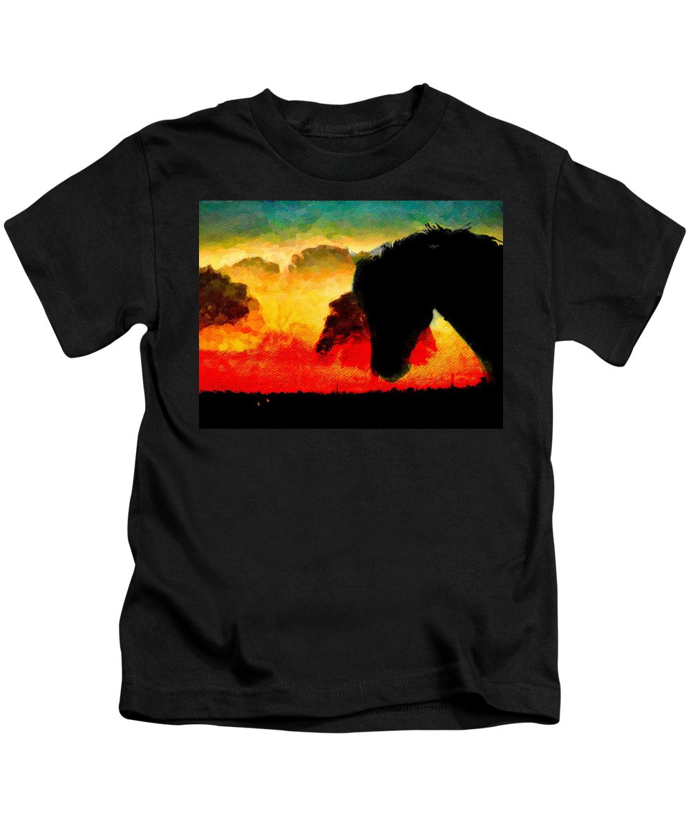 Horse Kids T-Shirt featuring the photograph Horse At Sunrise by Shannon Story
