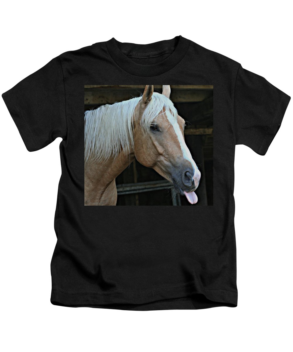 Horse Kids T-Shirt featuring the photograph Horse Feathers by Barbara S Nickerson