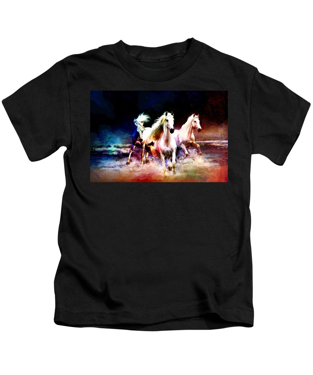 Horse Kids T-Shirt featuring the painting Horse Paintings 002 by Catf