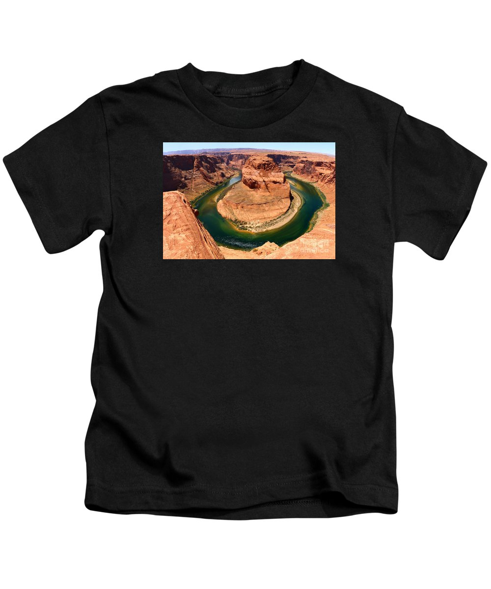 Canyon Kids T-Shirt featuring the photograph Horseshoe Bend - Nature's Awesome Work by Christiane Schulze Art And Photography